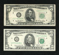 Error Notes:Ink Smears, Fr. 1962-D $5 1950A Federal Reserve Note. Fine-Very Fine.. Fr.1978-D $5 1985 Federal Reserve Note. AU.. ... (Total: 2 notes)