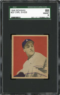Baseball Cards:Singles (1940-1949), 1949 Bowman Carl Scheib #25 SGC 88 NM/MT 8....