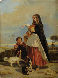 GROUP OF FIVE 19TH CENTURY GENRE PAINTINGS