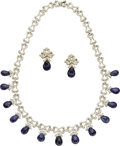 Estate Jewelry:Suites, Sapphire, Diamond, White Gold Jewelry Suite. ...