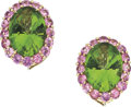 Estate Jewelry:Earrings, Peridot, Pink Sapphire, Gold Earrings, Paolo Costagli. ...
