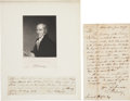 """Autographs:Military Figures, Timothy Pickering Autograph Letter Signed """"T. Pickering"""" as George Washington's second secretary of war. One page, 5"""" x ... (Total: 2 Items)"""