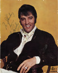 Music Memorabilia:Autographs and Signed Items, Elvis Signed International Hotel Menu Cover....