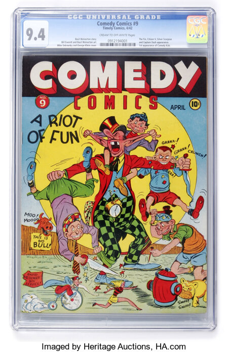 Comedy Comics #9 (Timely, 1942) CGC NM 9.4 Cream to off-white pages....