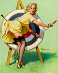 Pin-up and Glamour Art, GIL ELVGREN (American, 1914-1980). A Near Miss (Right onTarget), 1964. Oil on canvas. 30 x 24 in.. Signedcenter-right...