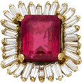 Estate Jewelry:Rings, Rubellite Tourmaline, Diamond, Gold Ring. ...
