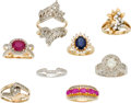 Estate Jewelry:Lots, Lot of Diamond, Ruby, Sapphire, Gold Rings. ... (Total: 8 Items Item)