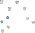 Estate Jewelry:Lots, Diamond, Colored Diamond, White Gold Earring Lot. ... (Total: 5 Items)