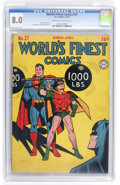 Golden Age (1938-1955):Superhero, World's Finest Comics #27 (DC, 1947) CGC VF 8.0 Cream to off-white pages....