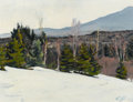 Fine Art - Painting, American:Contemporary   (1950 to present)  , CHRISTOPHER HUNTINGTON (American, b. 1938). WinterLandscape, 1967. Oil on canvas laid on board. 13-1/2 x 17-1/2inches ...