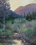 Fine Art - Painting, American:Modern  (1900 1949)  , DONALD BLAGGE BARTON (American, 1903-1990). Western Mountainsand Trees, 1928. Oil on artist's board. 10 x 8 inches (25....