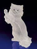Lapidary Art:Carvings, ROCK CRYSTAL ODD-EYED SILVER PERSIAN CAT . ...