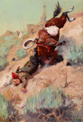 Paintings, WILLIAM HERBERT DUNTON (American, 1878-1936). The Badger Hole (The Spill), 1906. Oil on canvas. 28 x 19 inches (71.1 x 4...
