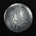 Meteorites:Irons, GIBEON METEORITE SPHERE - CRYSTALLINE STRUCTURE OF AN IRON METEORITE DRAMATIZED IN THREE DIMENSIONS. ...