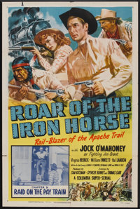 """Roar of the Iron Horse (Columbia, 1951). One Sheet (27"""" X 41"""") Chapter 9 -- """"Raid on the Pay Train.""""..."""