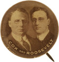 Political:Pinback Buttons (1896-present), Cox & Roosevelt: The Iconic Jugate Button Rarity from the 1920Campaign....