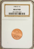 Lincoln Cents: , 1983-D 1C MS67 Red NGC. NGC Census: (0/0). PCGS Population(206/20). Numismedia Wsl. Price for NGC/PCGS coin in MS67: $30....