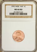 "Lincoln Cents, 1992 1C WIDE ""AM"" MS66 Red NGC. NGC Census: (36/90). PCGSPopulation (104/592). Numismedia Wsl. Price for NGC/PCGS coin in..."