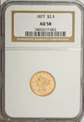 Liberty Quarter Eagles, 1877 $2 1/2 AU58 NGC....