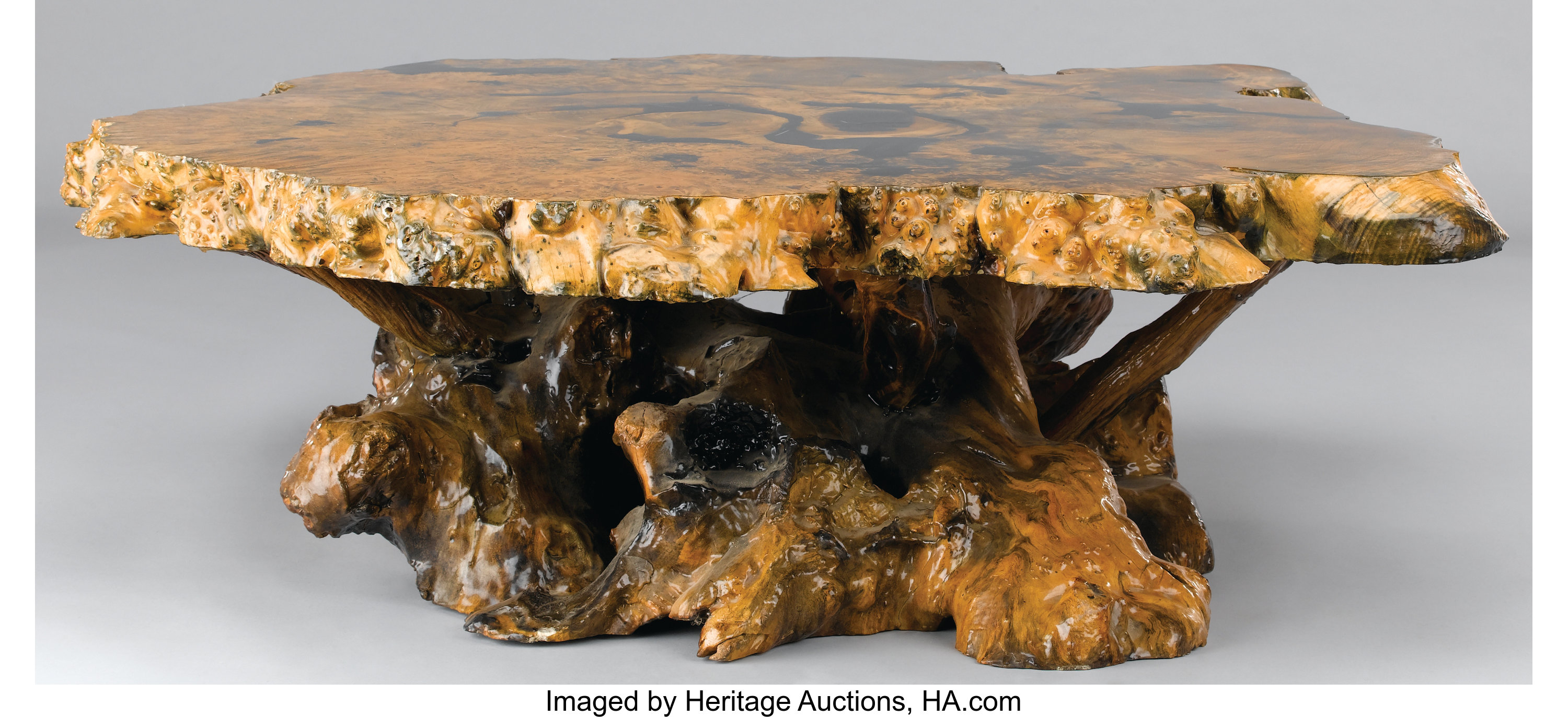 A Burl Wood Coffee Table 20th Century 17 X 58 Inches 43 2 X Lot 63338 Heritage Auctions