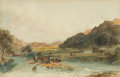 Fine Art - Work on Paper:Watercolor, PETER DE WINT (British, 1784-1849). Cattle at Water. Watercolor on paper. 10 x 15-1/2 inches (25.4 x 39.4 cm). ...