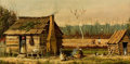Fine Art - Painting, American:Antique  (Pre 1900), PROPERTY OF A PRIVATE TEXAS COLLECTOR. WILLIAM AIKEN WALKER(American, 1838-1921). Cabin Scene . Oil on board. 6-1/2x...