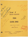Movie/TV Memorabilia:Autographs and Signed Items, Plan 9 From Outer Space Cast and Crew Signed Script....