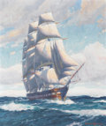 Fine Art - Painting, American:Modern  (1900 1949)  , JOE DUNCAN GLEASON (American, 1881-1959). Ship at Sea. Oilon canvas. 30 x 25 inches (76.2 x 63.5 cm). Signed lower righ...