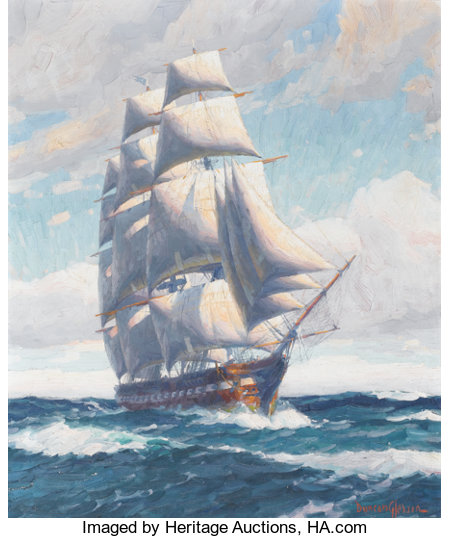 JOE DUNCAN GLEASON (American, 1881-1959) Ship at Sea Oil on canvas 30 x 25 inches (76.2 x 63.5 cm) Signed lower righ...