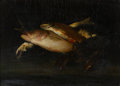 Fine Art - Painting, American:Other , Attributed to WILLIAM MERRITT CHASE (American, 1849-1916). StillLife with Fish. Oil on canvas laid on board. 15-1/4 x 2...