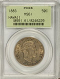 Coins of Hawaii, 1883 50C Hawaii Half Dollar MS61 PCGS....