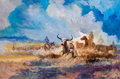 Texas:Early Texas Art - Regionalists, A. KELLY PRUITT (American, 1924-2009). Earth Sky &Cattle. Oil on canvas. 48-1/2 x 72 inches (123.2 x 182.9 cm).Signed ...