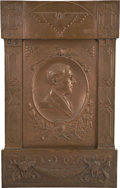 Political:3D & Other Display (1896-present), Woodrow Wilson: A Mammoth Signed Bronze Plaque, With Southwestern Motifs, Honoring President Wilson. ...