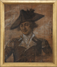 John Trumbull: A Large Charcoal Sketch of Washington Aide Lt. Col. Robert Hanson Harrison, For Trumbull's Epic Painting...