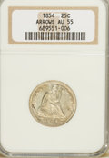 Seated Quarters: , 1854 25C Arrows AU55 NGC. NGC Census: (43/292). PCGS Population(53/253). Mintage: 12,380,000. Numismedia Wsl. Price for NG...
