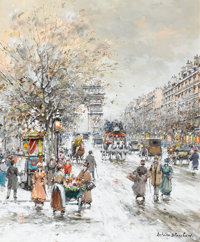 ANTOINE BLANCHARD (French, 1910-1988) Les Champs Elysees Oil on canvas 24-1/4 x 19-3/4 inches (61