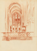 Fine Art - Work on Paper:Drawing, ARTHUR BEECHER CARLES (American, 1882-1952). ChurchInterior. Crayon on paper. 8-1/2 x 6-1/4 inches (21.6 x 15.9cm) win...