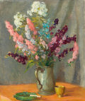 Fine Art - Painting, American:Modern  (1900 1949)  , WILLIAM CHADWICK (American, 1879-1962). Pewter Mug withDelphiniums, circa 1910. Oil on canvas. 24 x 20 inches (61.0 x5...
