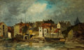 Fine Art - Painting, American:Antique  (Pre 1900), HARRY (HENRY) CHASE (American, 1853-1889). Port Scene. Oilon canvas. 12-1/2 x 20-1/2 inches (31.8 x 52.1 cm). ...