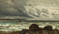 Fine Art - Painting, American:Antique  (Pre 1900), HARRY (HENRY) CHASE (American, 1853-1889). Seascape withLighthouse. Oil on canvas. 14 x 24 inches (35.6 x 61.0 cm). ...