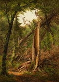 Fine Art - Painting, American:Antique  (Pre 1900), EDWARD HILL (American, 1843-1923). Woodland Interior, 1880.Oil on canvas. 20 x 14 inches (50.8 x 35.6 cm). Signed and d...