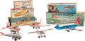 Antiques:Toys, Lot of Five Japanese Tin Litho Friction Airplane Toys in the Original Boxes.... (Total: 5 Items)