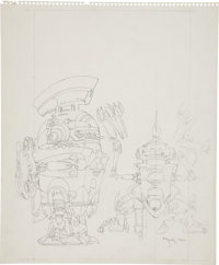 Michael W. Kaluta Robots Pencil Sketch Original Art (undated)