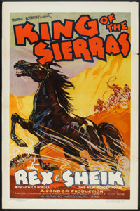 "King of the Sierras (Grand National, 1938). One Sheet (27"" X 41"") Flat-Folded. Western"