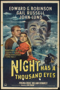 "Movie Posters:Film Noir, Night Has a Thousand Eyes (Paramount, 1948). One Sheet (27"" X 41"").Film Noir.. ..."