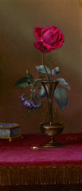 American:Still Life, The Hon. Paul H. Buchanan, Jr. Collection. MARTIN JOHNSON HEADE(American, 1819-1904). Red Rose and Heliotrope in a Vase...