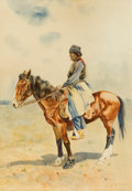 Works on Paper, GASPARD LATOIX (American, 1852-1952). Indian on Horseback. Watercolor on paper laid on board. 19 x 13 inches (48.3 x 33....