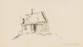 Works on Paper, THOMAS HART BENTON (American, 1889-1975). House on a Hill. Ink wash on paper. 6-3/4 x 11-3/4 inches (17.1 x 29.8 cm) win...