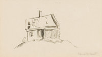 THOMAS HART BENTON (American, 1889-1975) House on a Hill Ink wash on paper 6-3/4 x 11-3/4 inches