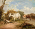 Fine Art - Painting, European:Antique  (Pre 1900), THOMAS SIDNEY COOPER (British, 1803-1902). Pastoral Scene withHorse. Oil on canvas. 20 x 24 inches (50.8 x 61.0 cm). ...